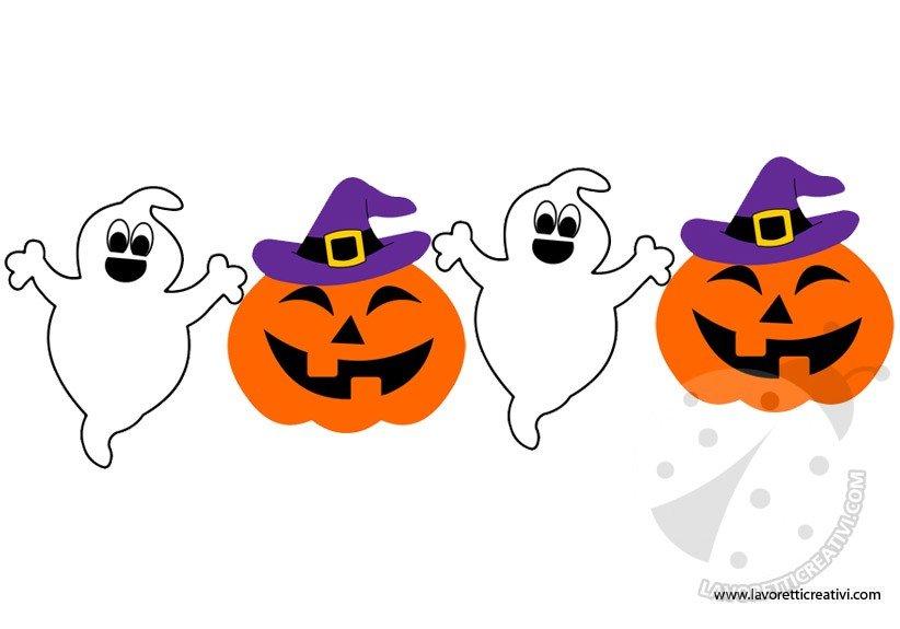 Festone di halloween con fantasmini e zucche for Immagini zucche halloween