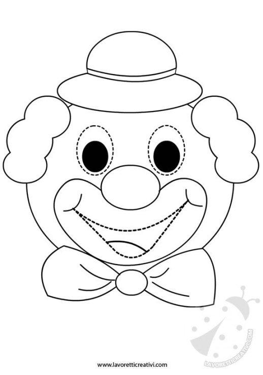 Maschera di pagliaccio da ritagliare for Disegno pagliaccio colorato