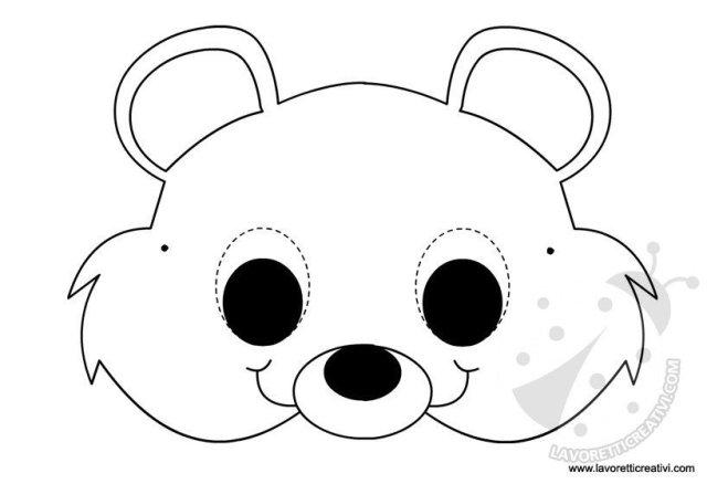 Maschere di animali orsetto for Maschere di animali di carnevale da colorare
