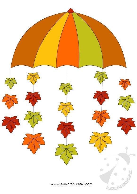 Addobbi autunno ombrello con foglie lavoretti creativi for Addobbi autunno scuola infanzia