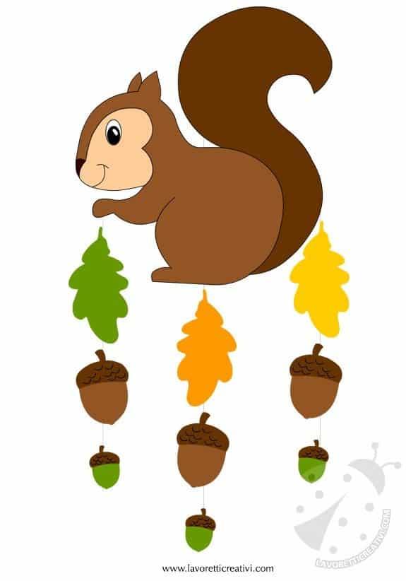 Addobbi autunno scoiattolo con ghiande for Addobbi autunno scuola infanzia