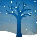 Lavoretti Inverno con la carta – Albero con neve