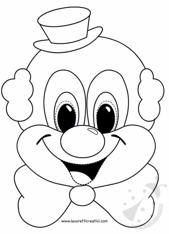 Maschere di carnevale per bambini pagliaccio for Pagliaccio da disegnare