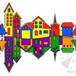 Paesaggio con colori primari e colori secondari