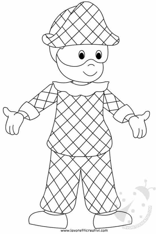 Maschera di arlecchino per bambini da stampare e colorare for Arlecchino disegno da stampare