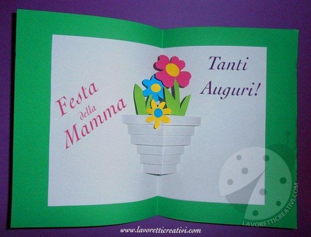 Festa della mamma Biglietto pop up con vaso di fiori