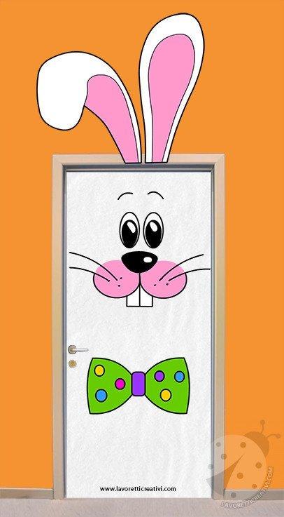 Idea per decorare la porta dell'aula con coniglio