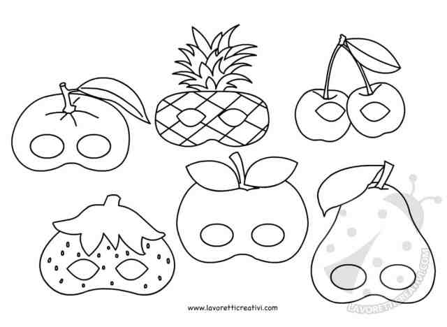 Maschere a forma di frutta da colorare