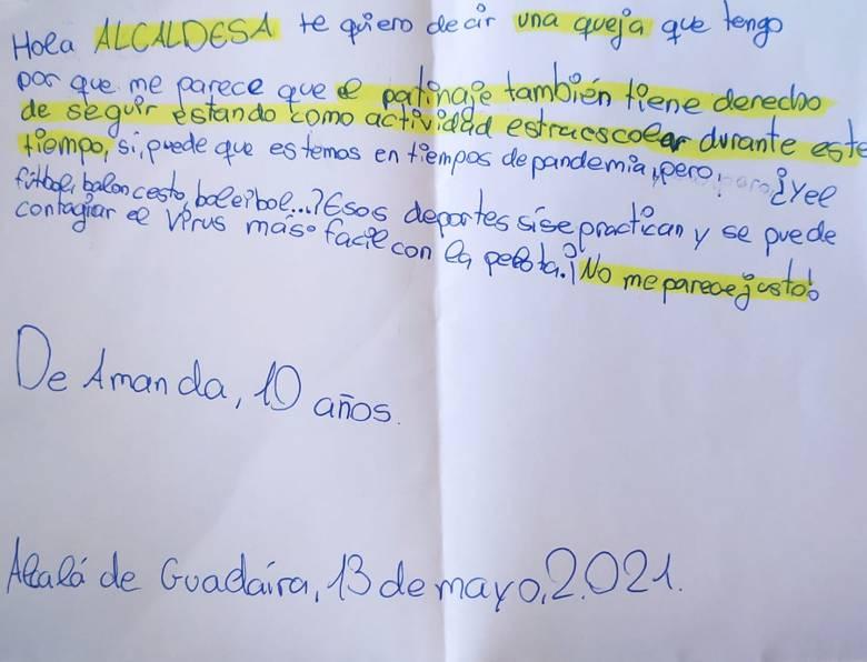 Carta de una niña a la alcaldesa de Alcalá / RRSS