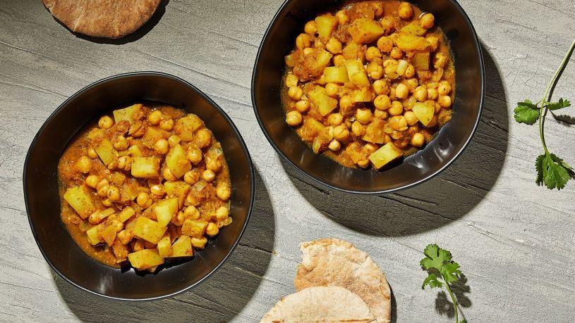 curry, garbanzos