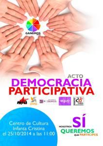 Cartel acto Democracia Participativa de Ganemos Pinto