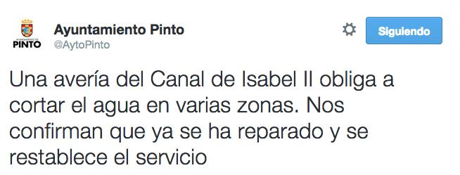 Perfil de twitter del Ayuntamiento de Pinto