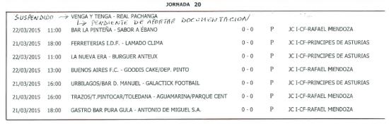 Horarios Fútbol 11. Semana del 16 al 22 de marzo. Fuente: Ayuntamiento de Pinto.