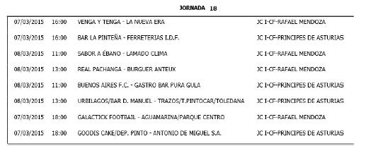 Horarios Fútbol 11. Jornada 18. Fuente: Ayuntamiento de Pinto.