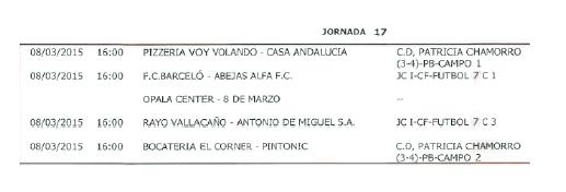 Horarios Fútbol 7 Quinta división. Jornada 17. Fuente: Ayuntamiento de Pinto.