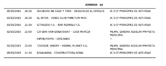 Horarios Fútbol Sala Primera división. Jornada 18. Fuente: Ayuntamiento de Pinto.