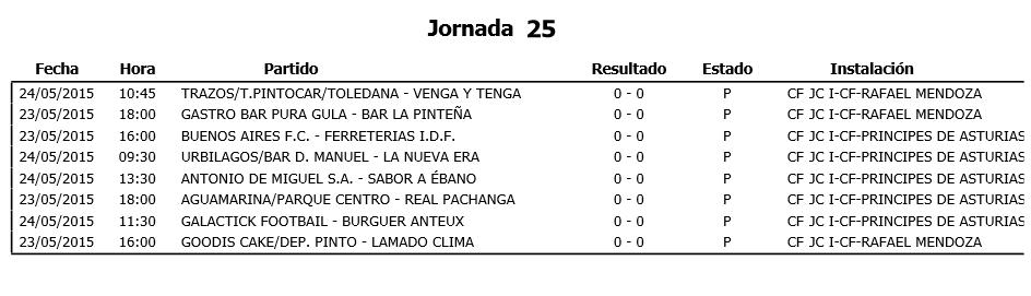 Horarios Fútbol 11. Semana del 11 al 17 de mayo. Fuente: Ayuntamiento de Pinto.