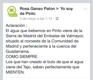 """La Concejala Rosa Ganso """"aclara"""" que en Pinto bebemos agua de la sierra """"como siempre"""""""