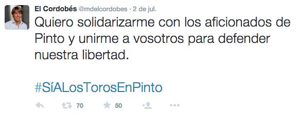 "Tuit Manuel Díaz ""El Cordobés""."