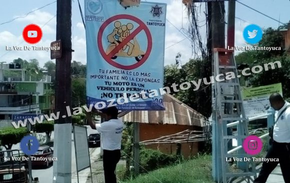Coloca Tránsito Municipal lonas informativas en Tantoyuca  | LVDT