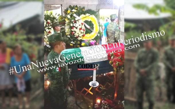 Despiden a Jesús Mendoza, soldado abatido en Guerrero, con ceremonia oficial en Tantoyuca