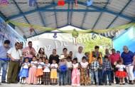 Entrega Amado Guzmán techado cívico en preescolar de la Colonia Morelos