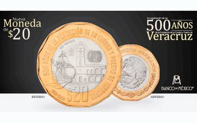 Inicia circulación de moneda de 20 pesos conmemorativa de los 500 Años de Veracruz