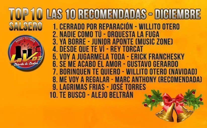 TOP 10 DE LA SALSA ROMÁNTICA NUEVA - DICIEMBRE (LAS 10 RECOMENDADAS)