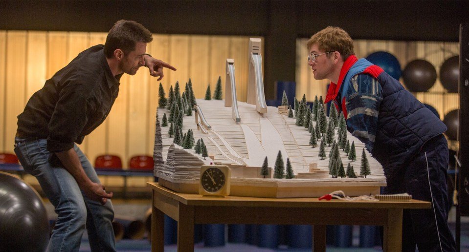 Hugh Jackman and Taron Egerton in Eddie The Eagle (20th Century Fox)