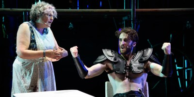 Anne Scurria and Charlie Thurston in Beowulf: A Thousand Years of Baggage (Photo: Mark Turek)