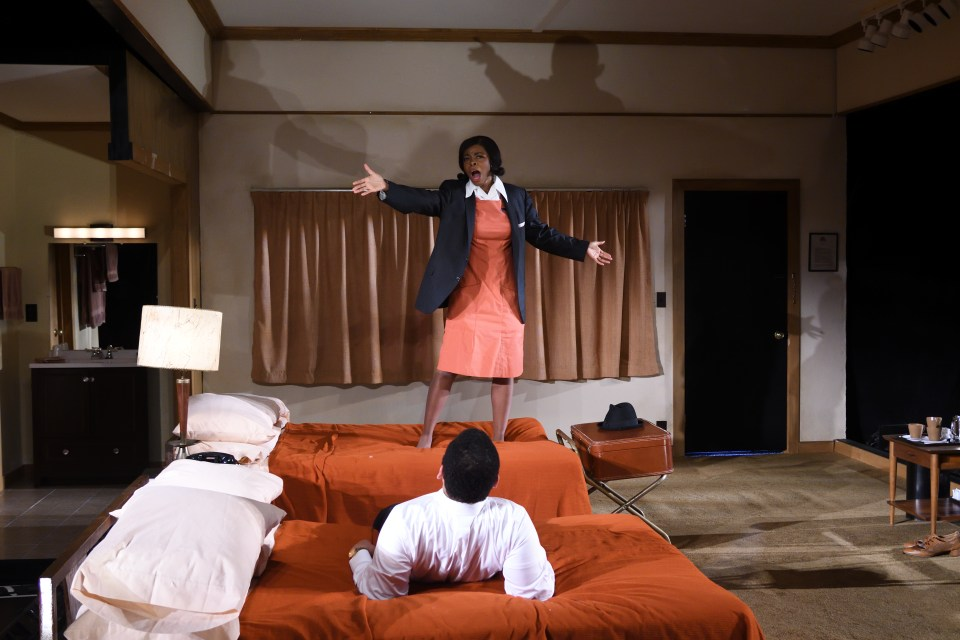 Mia Ellis and Joe Wilson Jr in Trinity Rep's production of Katori Hall's The Mountaintop