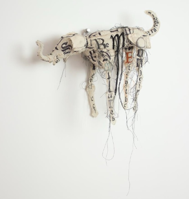 Lesley Dill, Elephant Dog Puppet (Strange unisons), 2013 Ink, thread, horsehair, poly-fil, fabric 9'' x 10'' x 3.5''