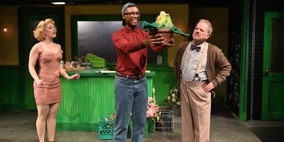 Rebecca Gibel, Jude Sandy, and Steven Berenson in Little Shop of Horrors at Trinity Rep (photo: Mark Turek)