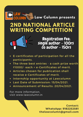 lawcolumn 2nd essay writing competetion 2nd National Article Writing Competition by Law Column : Register by April 5th