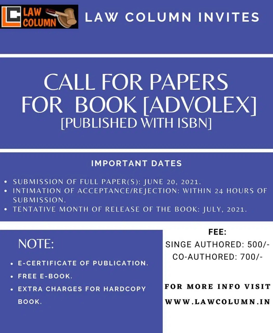 Call For Papers for book 'AdvoLex by Law Column' Published with Isbn : Submit By June 20, 2021