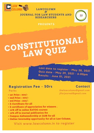 Online Quiz Competition on Constitutional Law by LawColumn & JLSR - Register Now!!
