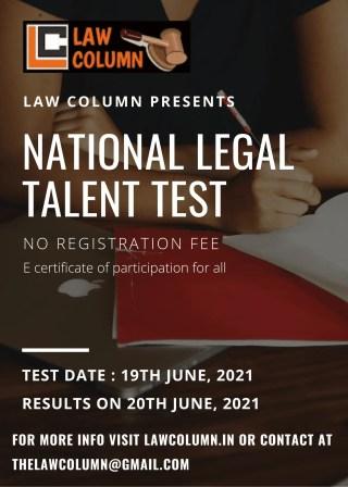 LAWCOLUMN'S NATIONAL LEGAL TALENT TEST [NO REGISTRATION FEE]