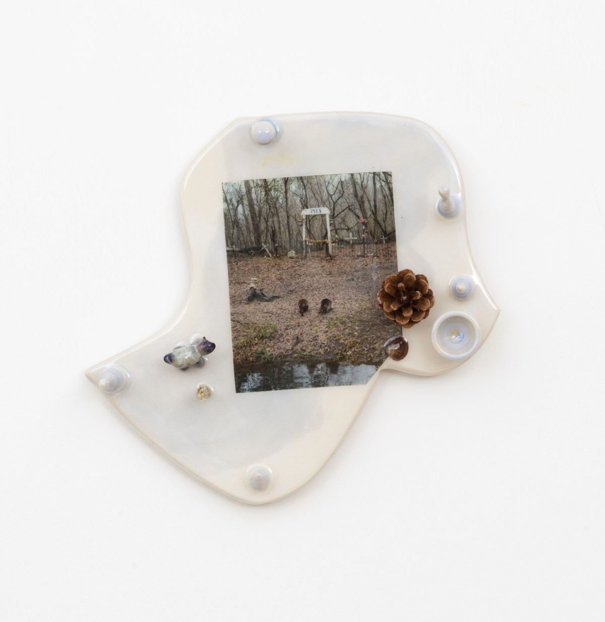 Erin Jane Nelson, Frenier (2017), resin, pine cone, glass and pigment print on glazed earthenware; Credit: Courtesy Document