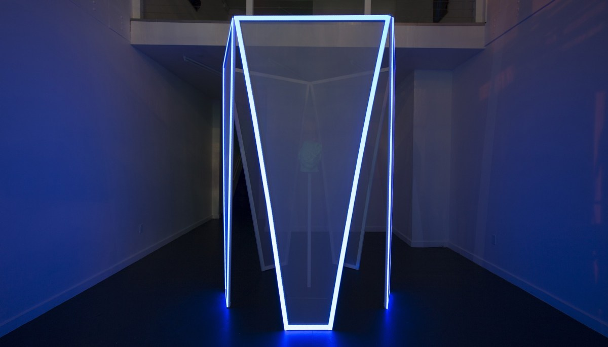 Peter Wu, Or, the Creatures of Prometheus (2018), glow-in-the-dark PLA 3-D print, wood, translucent fabric, mapped HD video projections with sound (TRT 6:43 loop). 96 x 72 x 72 inches. Installation view at R/SF Projects, San Francisco.; Credit: Courtesy of the artist
