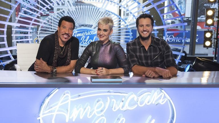 Lionel Richie, left, Katy Perry and Luke Bryan on American Idol; Credit: Eric Liebowitz/ABC