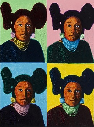 David Bradley, Hopi Maidens (2012), mixed media on panel, 40 x 30 in.; museum purchase, Museum of Indian Art and Culture; Credit: Courtesy the Autry