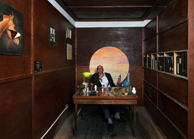 Eric Wesley in his office, which will be recreated at the Art Los Angeles Contemporary fair.; Credit: Brica Wilcox