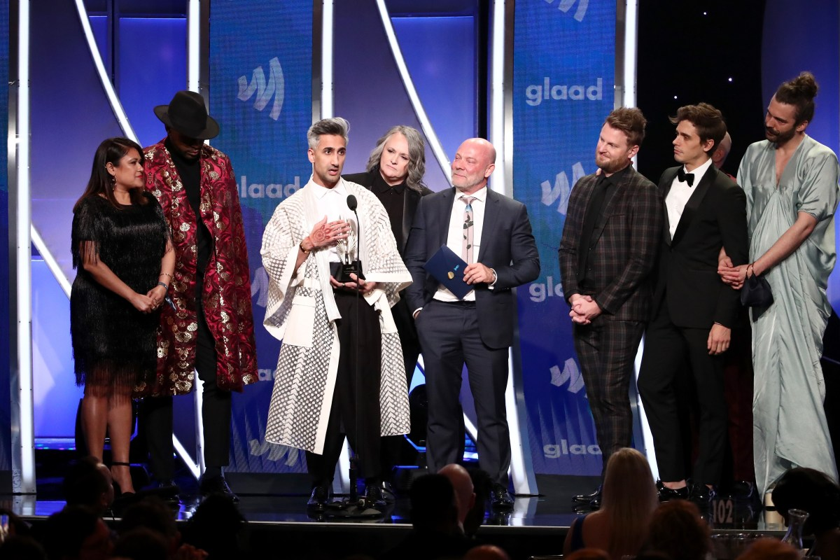 Cast and crew of Queer Eye accept the award for Outstanding Reality Program onstage during the 30th annual GLAAD Media Awards, Los Angeles.; Credit: Rich Fury/Getty Images for GLAAD