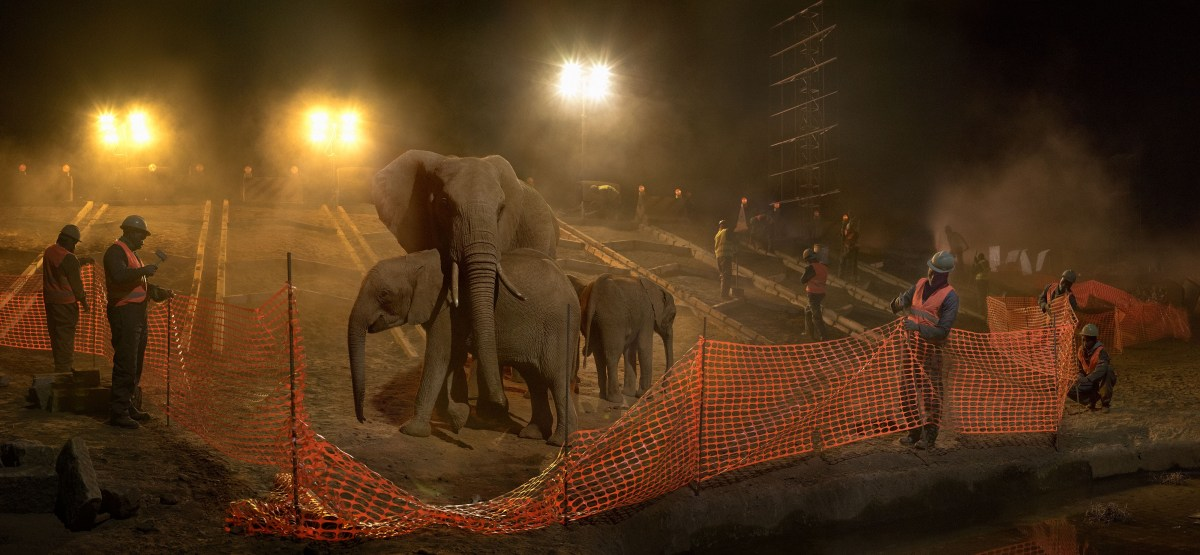 Nick Brandt, Highway Construction with Elephants, Workers and Fence (2018), archival pigment print; Credit: Courtesy of the artist and Fahey/Klein Gallery