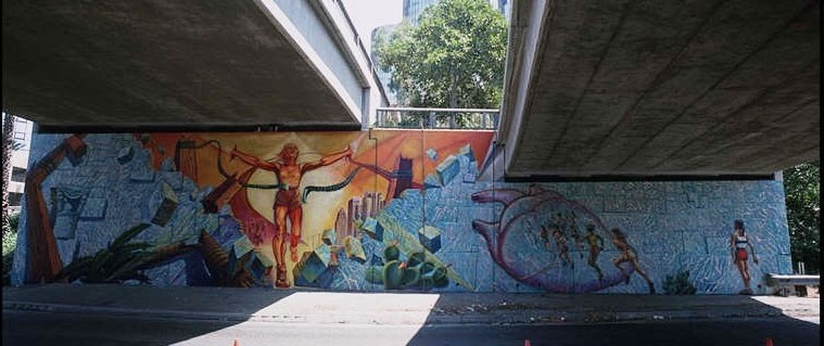 "Judith Baca's mural ""Hitting the Wall"" was commissioned for the 1984 Summer Olympics.; Credit: Courtesy Judith Baca"