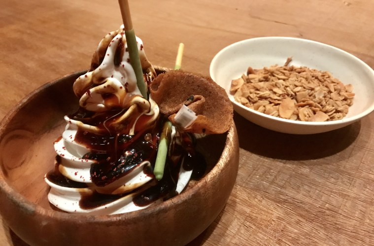 Charred coconut soft serve with sweet soy