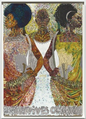 Jeff Donaldson, Wives of Sango, 1971. Paint, foil and ink on cardboard. 36 1/4 x 25 9/16 in. Collection of the Smithsonian National Museum of African American History and Culture, Courtesy of Jameela K. Donaldson, © Jeff Donaldson; Credit: Courtesy of the Broad