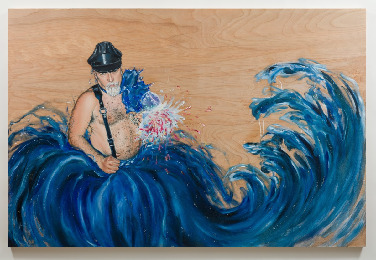 Shizu Saldamando, Martin's Cincuentanera (2018), oil and mixed media on wood; Credit: Courtesy of the artist and Charlie James Gallery
