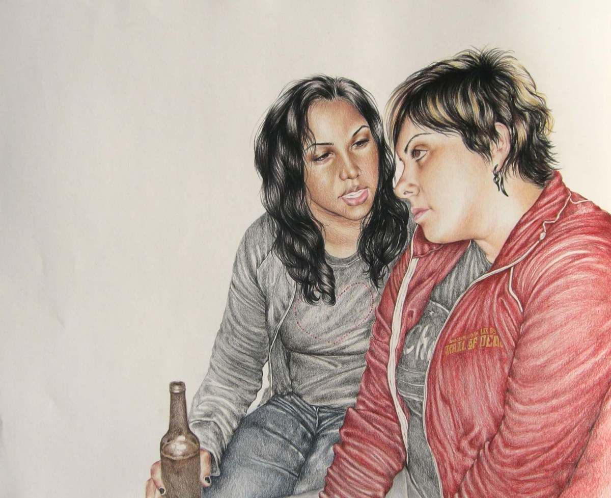 Shizu Saldamando, Rina and Carm (2012), color pencil on paper; Credit: Courtesy of the artist and Charlie James Gallery