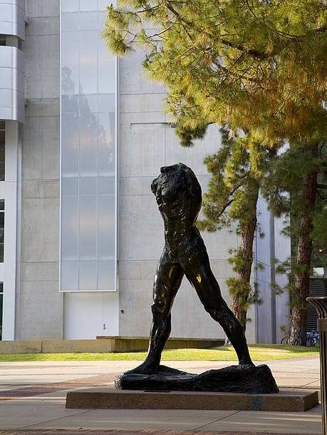 Auguste Rodin, The Walking Man (1905), in the Franklin D. Murphy Sculpture Garden at UCLA; gift of the UCLA Alumni Association and an anonymous donor as a tribute to Franklin D. Murphy.; Credit: Photo by Joshua White/Courtesy Hammer Museum